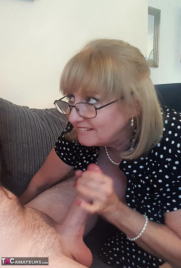 Voluptuous British MILF Lorna Blu gets cum on her glasses